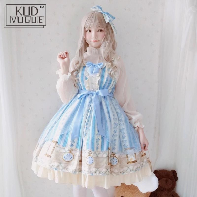 Japanese Sweet Kawaii Jsk Lolita Dress For Girl Cute Blue Printing Bowknot Vintage Victorian Women Clothes Princess Party Dress