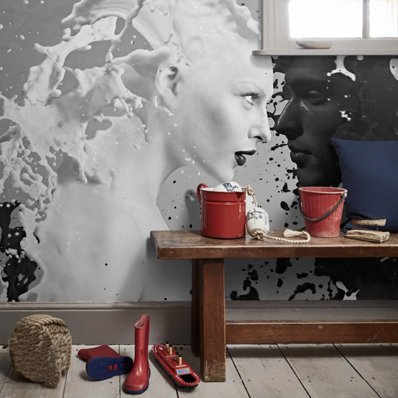 Papel De Parede Custom Black White Milk Lover Photo Wallpapers For Wall 3D Living Room Bedroom Shop Bar Cafe Walls Murals Roll