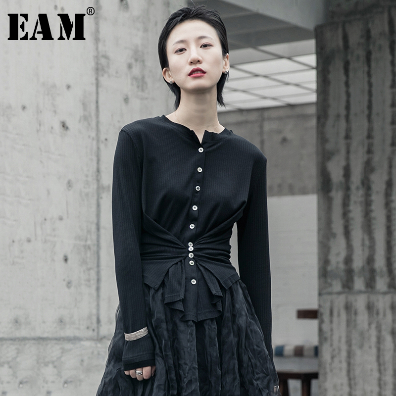 [EAM] Button Split Joint Pleated Knitting Cardigan Sweater Loose Fit Long Sleeve Women New Fashion Tide Spring 2020 1R589