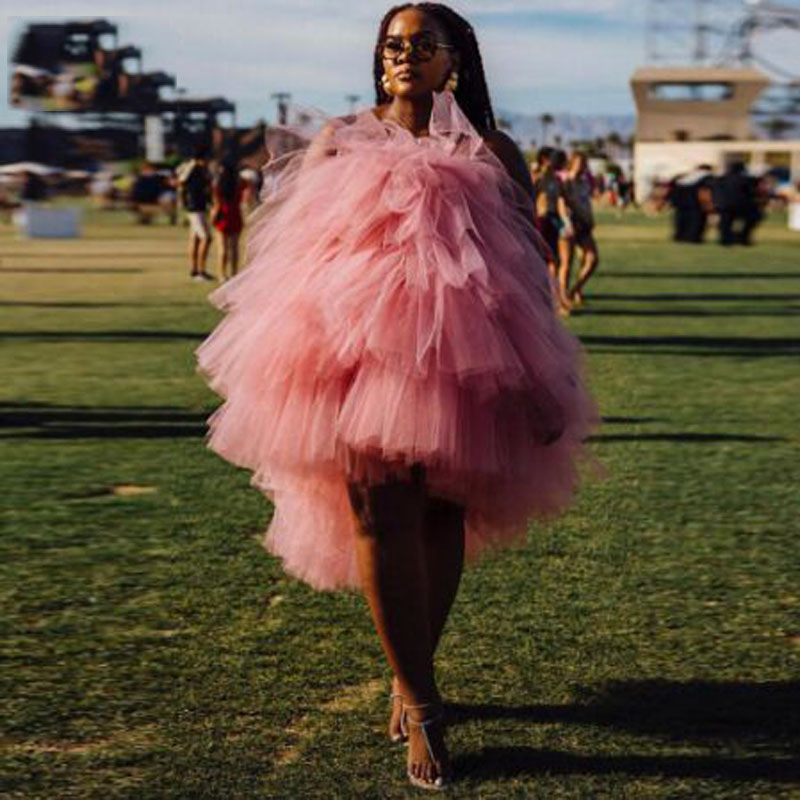 Pink Pleat Ruched Ruffles Off-shoulder High Low Cocktail Dresses Simple Sleeveless Tea-length Tulle Party Gown коктейльное плать