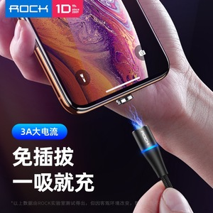 Image 3 - ROCK 3 In 1ชุดแม่เหล็กLEDสายUSBสำหรับiPhone X Xr Xs Max Xiaomi 9 8 Micro USBประเภทCสายชาร์จMagnet Charger