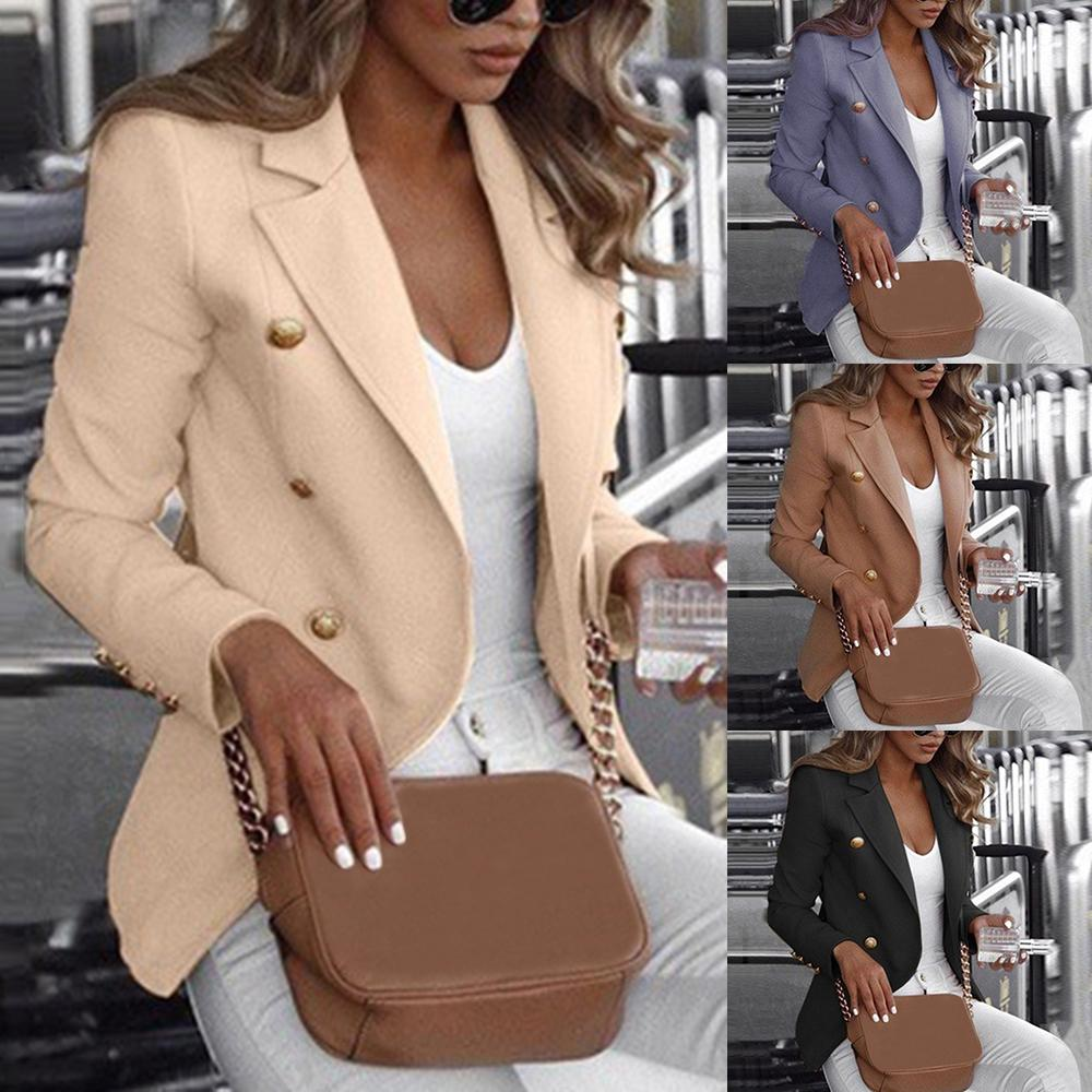 New Women Vintage Blazer Jacket Causal Double Breasted Slim Suit Jacket Blazer Feminino Veste Femme Ladies Office Jacket
