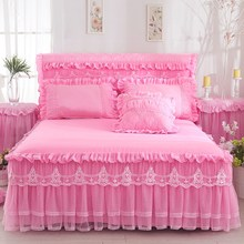 1 Piece Lace Bed Skirt +2pieces Pillowcases bedding set Princess Bedding Bedspreads sheet Bed For Girl bed Cover King/Queen size(China)