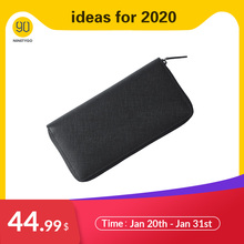 NINETYGO 90FUN Fashion Business Casual Billfold Wallet Coin Purse Genuine Cow Leather for Men Women Card Holder Black