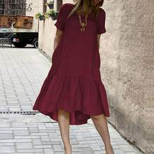 Women Dress Holiday Summer ZANZEA Short Sleeve Sundress Solid Casual Kaftan Ruffles Loose Vestidos Pockets O-Neck Robe Femme 5XL