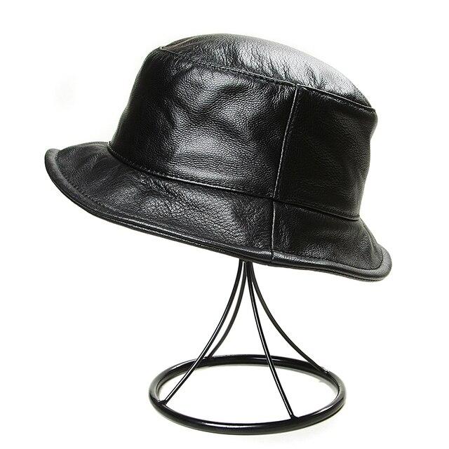 Chapeaux de pêcheur en cuir véritable homme | Style coréen, hiver femme, noir, chapeau de pêche décontracté, casquettes de lavabo, Streetwear seau Gorra