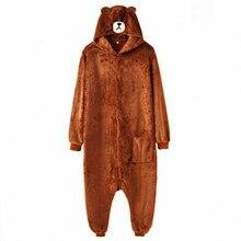 HKSNG dorosły Plus rozmiar XXL niedźwiedź Onesie Kigurumi flanelowa ze zwierzęciem strona z zamkiem i guzikiem kombinezon Kumamon komplet piżamy kombinezon