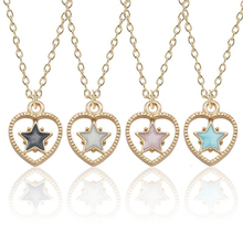 Fashionable Simple Female Necklace Heart-shaped Hollow Small Star Shape Pendant Multicolor Optional Cute Sweet Girl Jewelry Gift