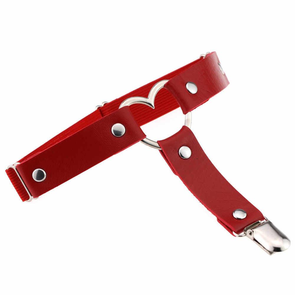 ホット販売新加入レディースセクシーな弾性ハーネスハート脚チェーンガーターベルトコスプレスパイク高品質弾性腿リングガーター