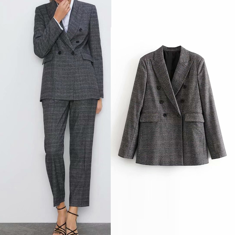 2019 autumn women jacket england office lady Plaid tweed blazer feminino casual women blazer mujer women blazers and jackets