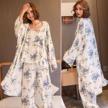 Dihope Women Pajamas 3 Pieces Satin Sleepwear Pijama Silk Home Wear Home Clothing Embroidery