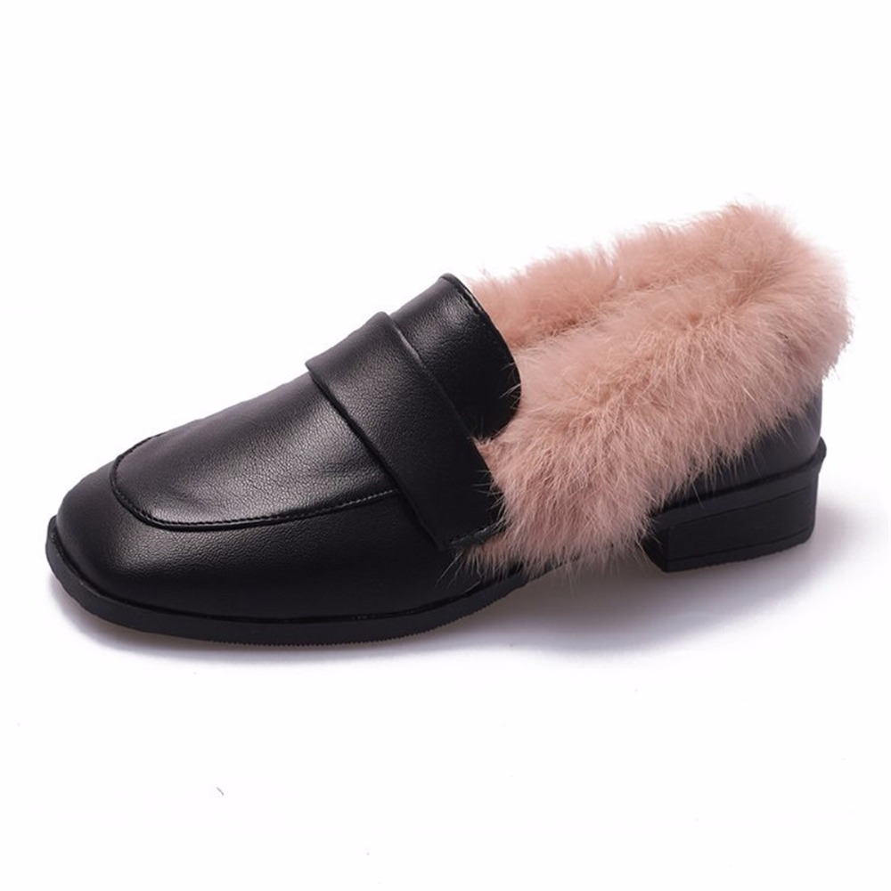 Autumn winter casual women shoes fluffy warm fluffy lining fashion black brown square toe women's shoes 30