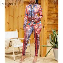 Fadzeco ropa africana para mujer 2 piezas trajes Casual estampado Floral chaqueta de manga larga pantalones Top chándales monos