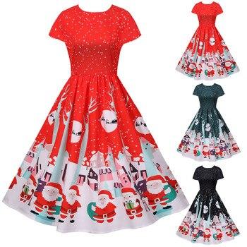 40 # Robe de noël femmes 50S 60S Vintage Swing Pinup Robe élégante Pinup Vestidos Robe de noël impression à manches courtes Robe de grande taille 1
