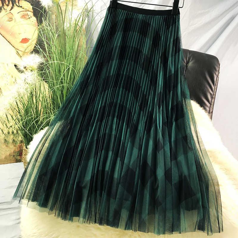Winter Vintage Plaid plisowana maxi długie tiulowe spódnice eleganckie czerwone zielone sprawdź Tartan A-line kostki długie siatkowane spódnice