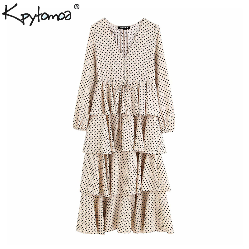 Vintage Elegant Polka Dot Ruffled Midi Dress Women 2020 Fashion V Neck Long Sleeve Drawstring Pleated Chic Dresses Vestidos