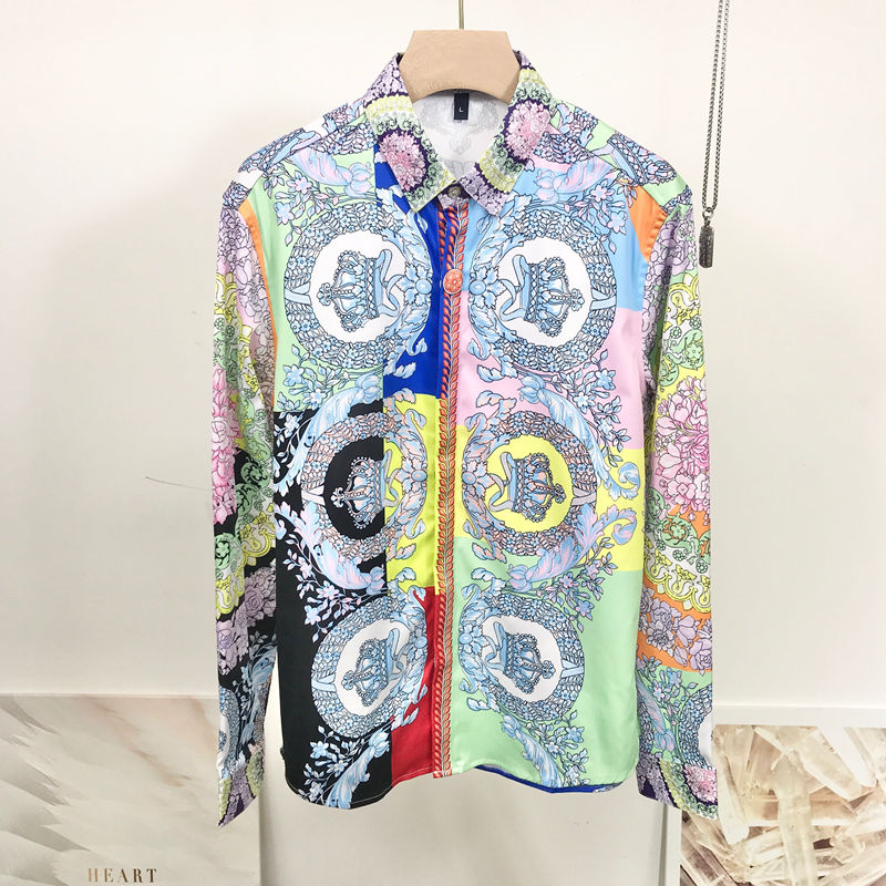 New Floral Shirt Men Colorful Royal Crown Print Wedding Shirt Man Long Sleeve Slim Fit Camisas Hombre For Party Prom Club Shirt