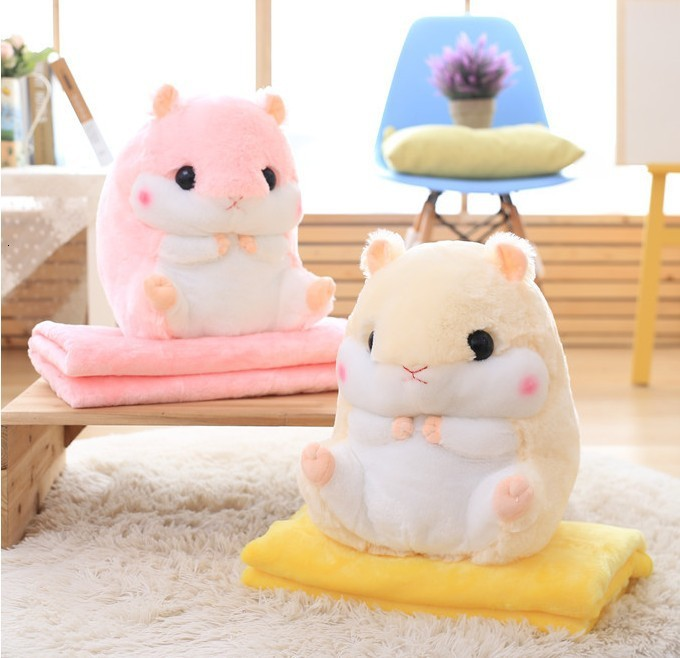 Hamster Plush Doll With Pillow Carpet Dual-use Soft Stuffed Kid Cushion Blanket Air Conditioning Cushion Coral Fleece Blanket