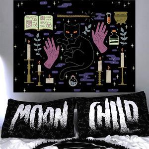 Image 3 - Loartee 魔術ウイジャ猫タペストリーサイキックマジック占星術コミックボヘミアンヒッピー占いホーム壁の装飾毛布