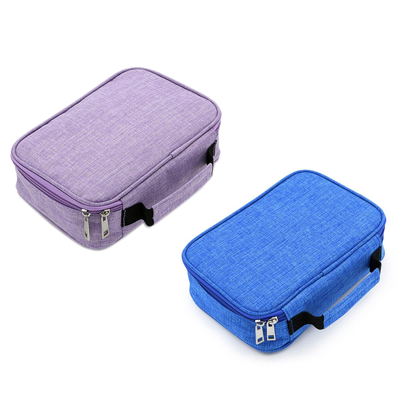 2Pcs 72 Holder Pen Colored Pencil Case School Multi-Functional High Capacity Zipper Pencil Bag for Student Art Supplies - Purple