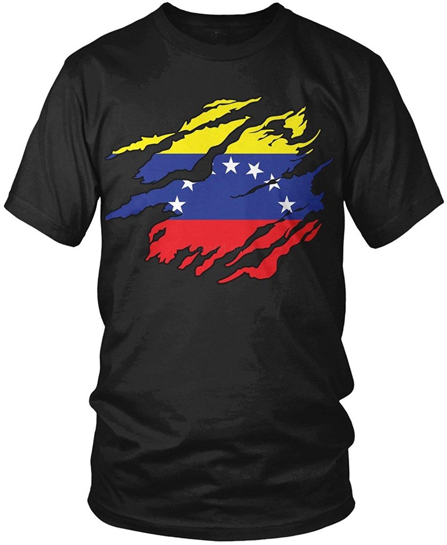 Mens T Shirts Fashion 2019 Venezuela Flag Tear through, Rip Out Venezuelan Flag men's t-shirt,  T Shirt Short Sleeve