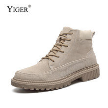 YIGER New Men martins boots man tooling shoes Suede autumn winter warm male casual lace-up men desert boots ankle boots 0374(China)