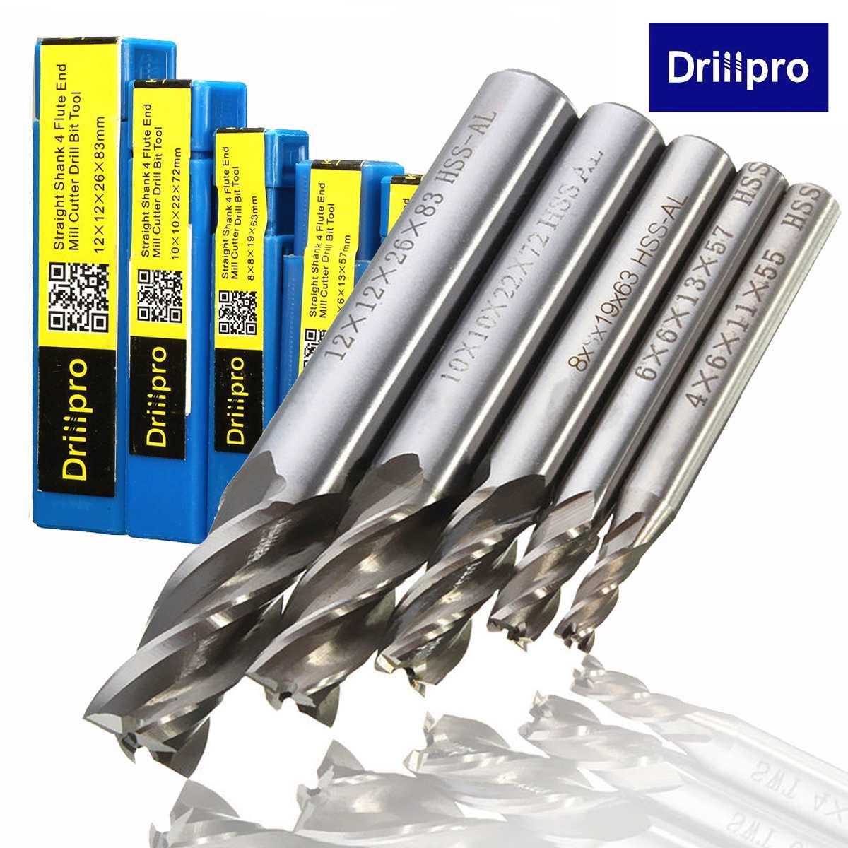 5Pcs HSS-Al CNC 4 Flute End Mill Cutter Drill Bit Milling Tool 4/6/8/10/12mm HSS-AL Drill Bit