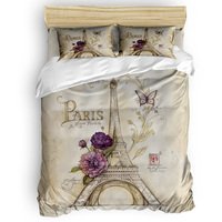 Vintage Paris Tower Butterfly Printing Custom Bedding Set 3D Digital Printing Christmas Bedding Set US KING QUEEN