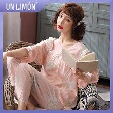UNLIMON Sleepwear Sets 2pcs Pajamas Long Sleeve Pants Korean Fashion