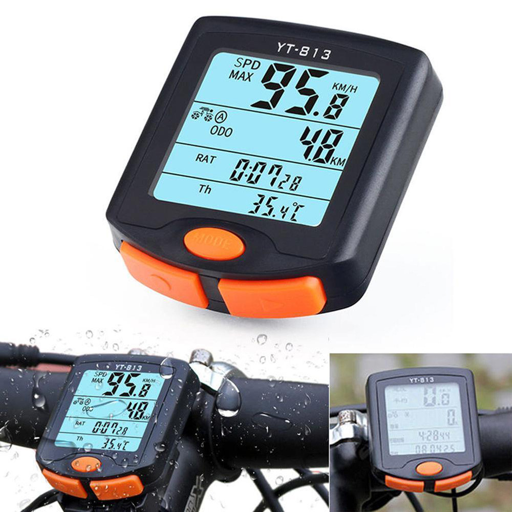 YT-813 Wireless <font><b>Bike</b></font> <font><b>Speed</b></font> <font><b>Meter</b></font> Digital <font><b>Bike</b></font> Computer Multifunction Waterproof Sports Sensors Bicycle Computer Speedometer image