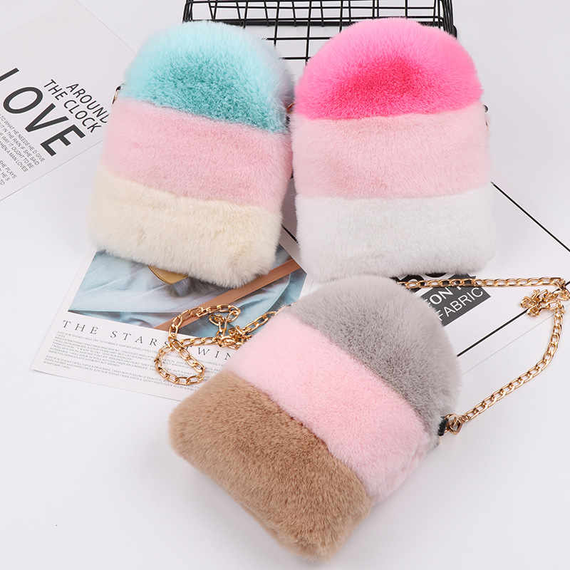 Faux Fur Crossbody Bags For Women Winter Purses And Handbags Girls Small Wallet Shoulder Bag