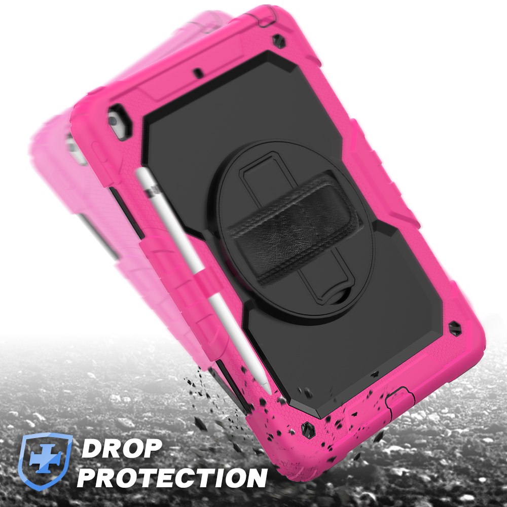 For cover 7th A2198 Gen case 10.2 degree A2200 Shockproof PC Silicon 2020 iPad 8th Kids Stand 360 straps rotation funda A2232