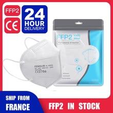 Masques faciaux FFP2 KN95, protection buccale, anti-poussière, 95% filtré, livraison depuis la France