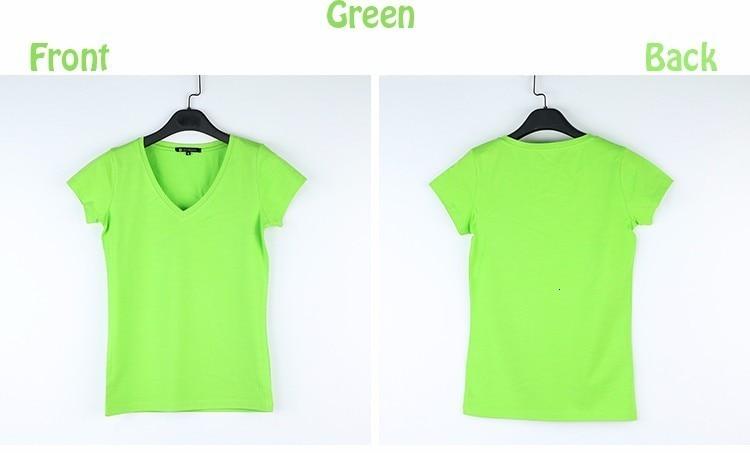 High Quality V-Neck 15 Candy Color Cotton Basic T-shirt Women Plain Simple T Shirt For Women Short Sleeve Female Tops 077 19