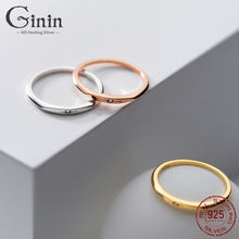Ginin простой Изысканный инкрустированные циркон реальные 925