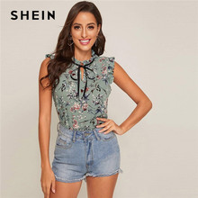 SHEIN Contrast Tie Neck Frill Trim Floral Top Women 2020 Summer Stand Collar Sleeveless Ladies Cute Tops and Blouses(China)