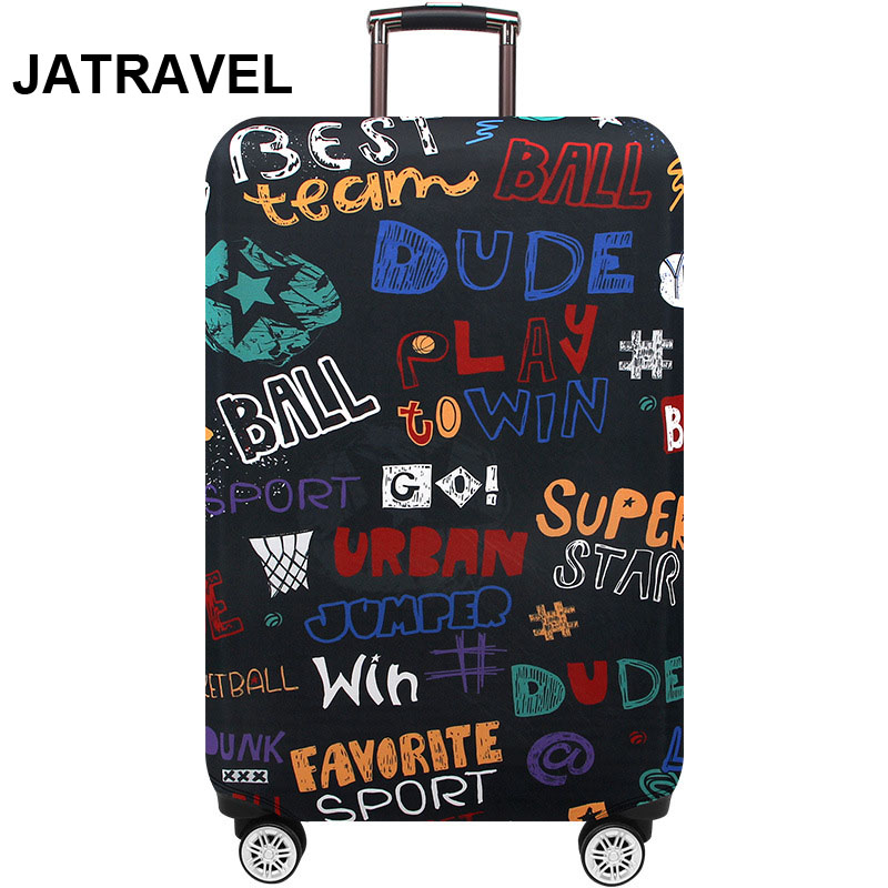 Thicker Elastic Graffiti Alphabet  Luggage Protective Cover Fashion Men's Women's Case Suitcase Trolley Baggage Travel Bag Cover