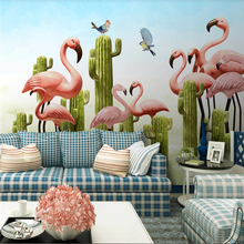 Custom wallpaper 3D stereo photo mural Nordic small fresh cactus flamingo background wall painting papel de parede