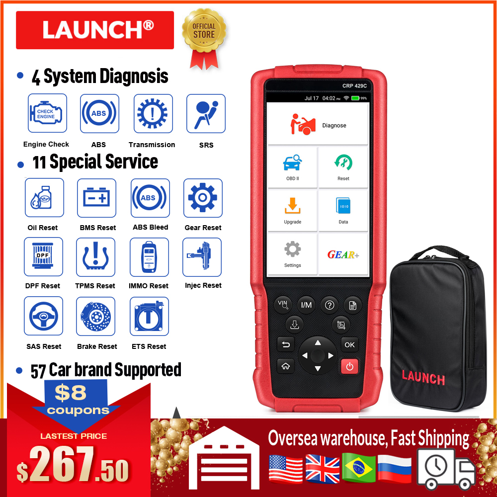LAUNCH X431 CRP429C OBD2 Scanner ENG ABS Airbag SRS AT Diagnostic Tool DPF BMS EPB 11 Reset Service Pk CRP129 CRP479 CRP469