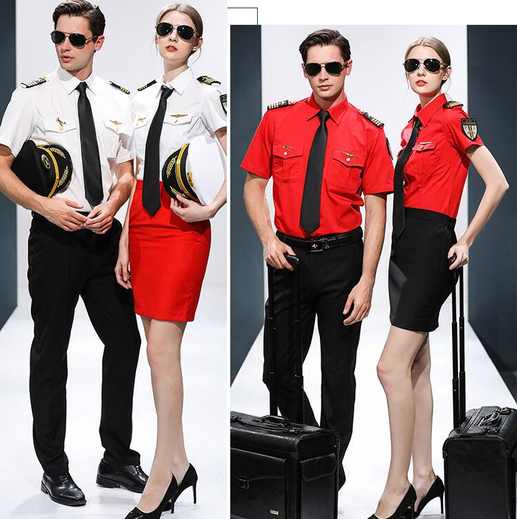 Hotel KTV Bar Waiter Workwear Cosplay Short Sleeve Summer Clothing AirLine Captain Stewardess Standard Suits Student Uniform