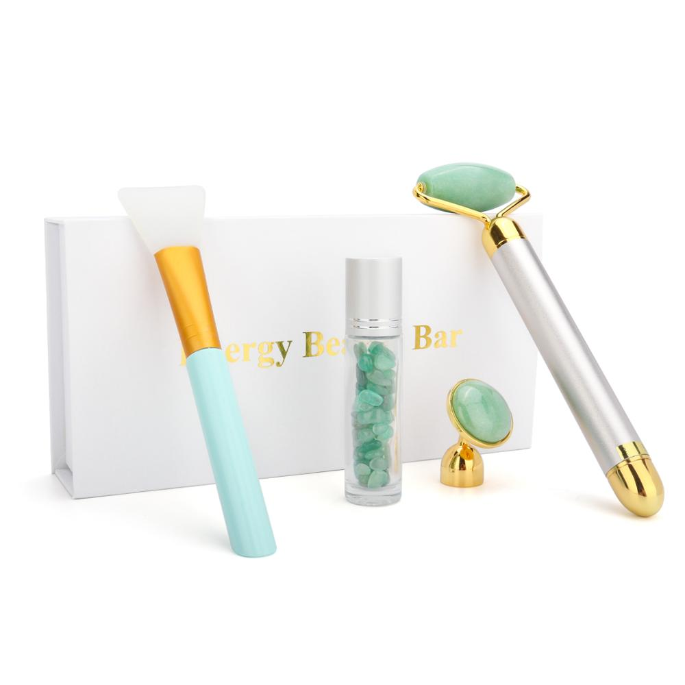 Electric Facial Jade Roller Vibrating Face Massager Roller For Facial Lifting Anti-aging Cheeks Skin Tightening Beauty Care Set