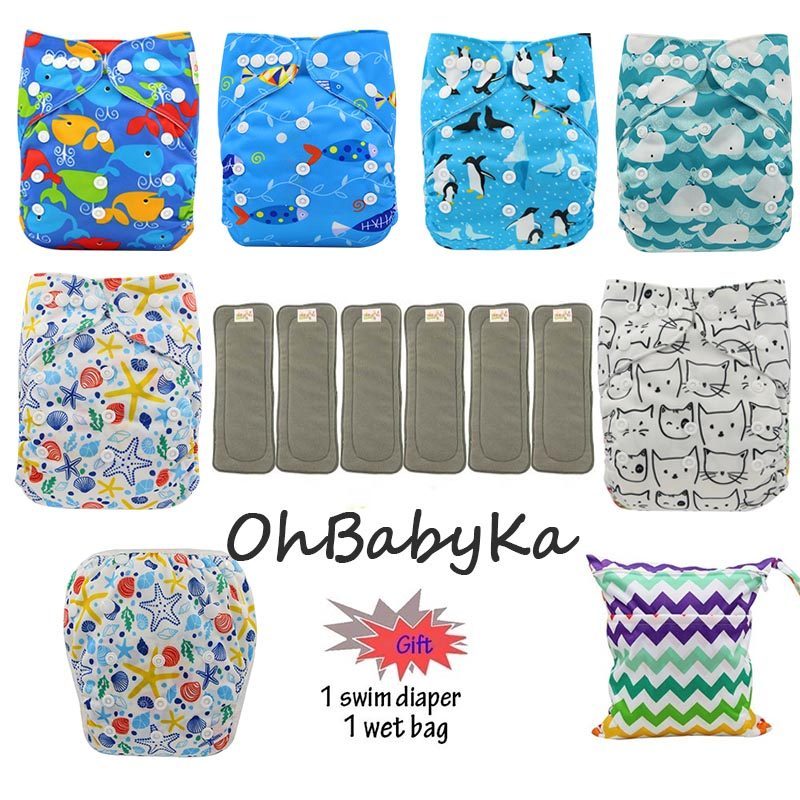 Image 5 - OhBabyKa Washable Baby Cloth Diaper Bamboo Charcoal Reusable All in two Pocket Diaper Adjustable+6pcs Bamboo Insert Baby Nappies-in Baby Nappies from Mother & Kids