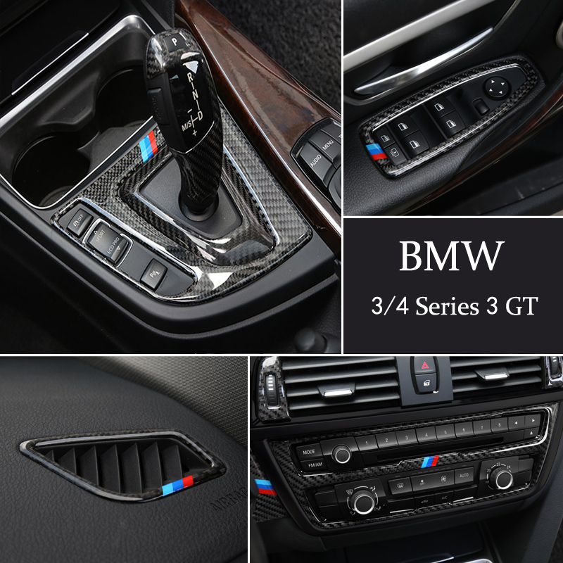 Carbon Fiber Console Gear Shift Box Frame CD Panel Reading Light Cover Trim Sticker For BMW 3 4 Series 3GT F30 320LI