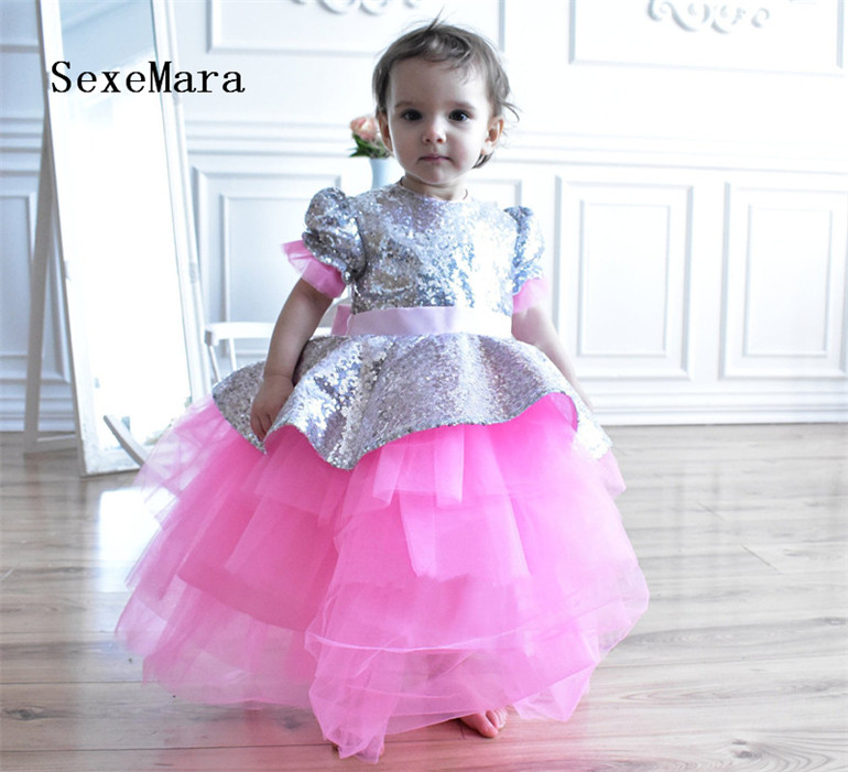 Cute Girls Birthday Party Cloth With Bling Sequins Short Sleeves Keyhole Bow Back Toddler Celebration Gowns Custom Made Puffy