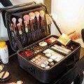Bolsa de maquiagem profissional feminina, bolsa de cosméticos oxford/couro, coreana, grande, multicamadas