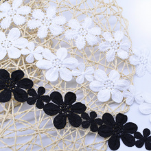 2 yards cotton lace flower sewing fabric for garment Home Furnishing Doll DIY Material Balck White crochet ribbon 5cm-11cm
