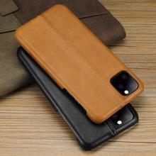 Hakiki deri ince sert kapak kılıfı iPhone 11 Pro Max 11Pro X XS XR 10 telefon lüks Ultra ince durumlarda mat Retro Vintage