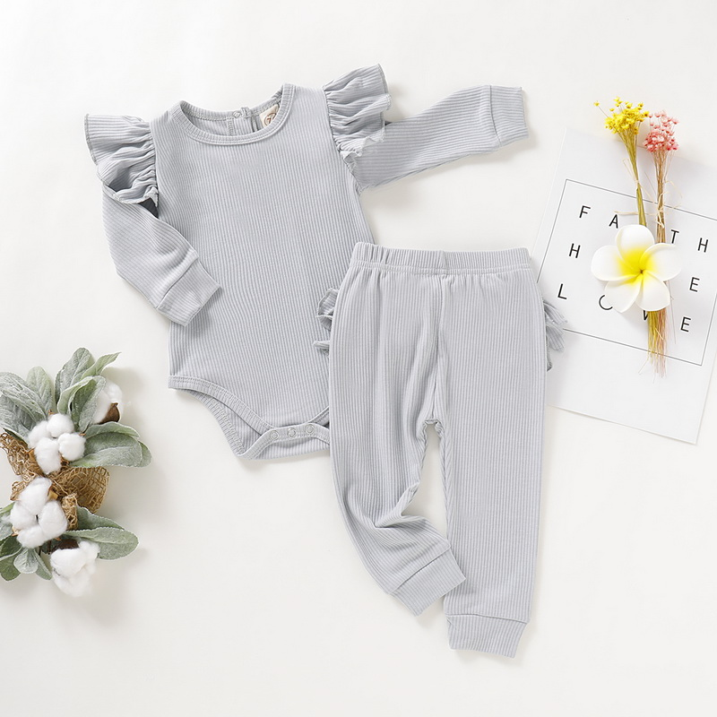 2Pcs Soft Baby Boy Clothes Set Newborn Clothes Ruffle Sleeve Bodysuit Comfortable Pants Infant Baby Set Toddler Boy Girl D30 in Clothing Sets from Mother Kids