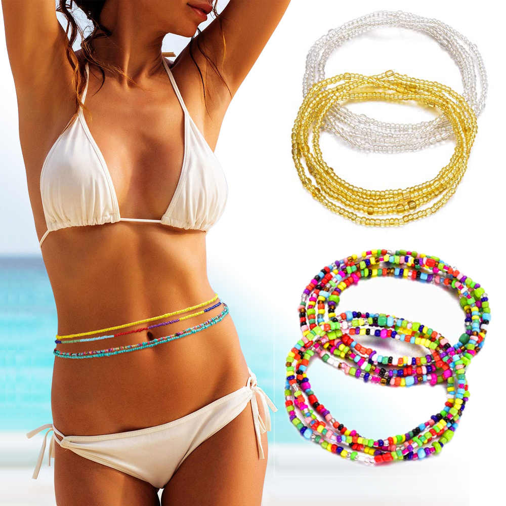 Bohemia Double Strand Bead Belly Chains for Women Body Chain Jewelry Summer Sexy Elastic Waist Chain Beach Waistband