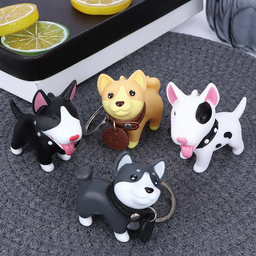 Cute Dog  Whale Keychain Figure Rubber Doll Toys Key Ring Holder Shiba Inu Bull Terrier Excellent Gift For Car Accessories